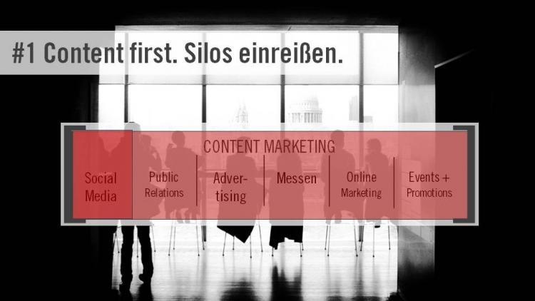 Im Content Marketing arbeiten alle zusammen – um dem Konsumenten eine einheitliche Customer Experience zu ermöglichen. Das schließt auch Social Media mit ein.