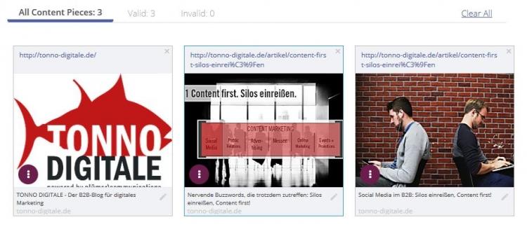Nach Erstellung erhält der Nutzer bei Outbrain eine Vorschau auf die unterschiedlichen Anzeigen