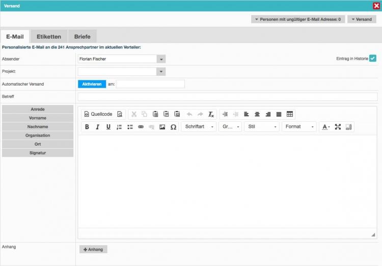 Personalisierte E-Mails, Pressemitteilungen und Newsletter im CI – mit PressFile ist ein schneller, unkomplizierter Versand möglich
