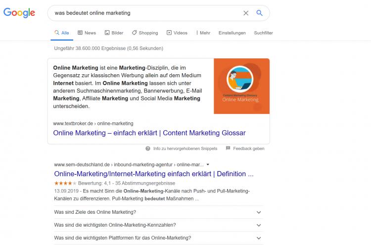 Position Null auf Google besetzen