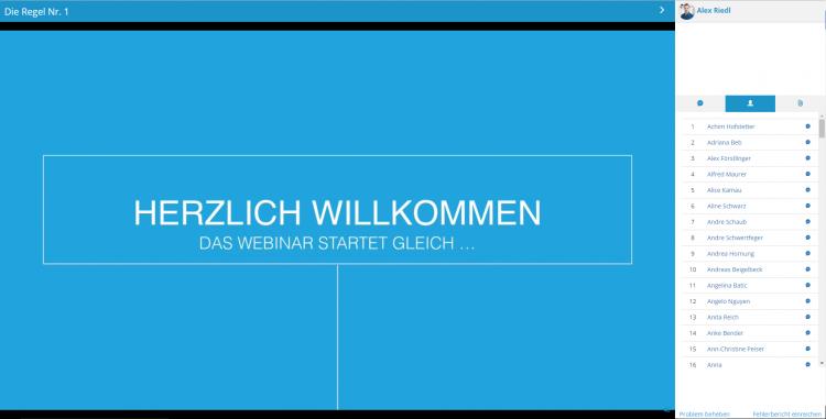 Übersichtliches Layout: der virtuelle Seminar-Raum von Webinaris