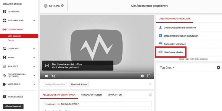 """Auf YouTube sind zunächst individuelle Einstellungen möglich. Los geht's über """"Livestream starten"""