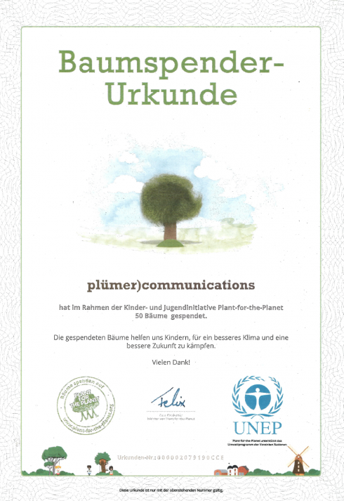 Spende Plant for the Planet Umfragen PLÜCOM