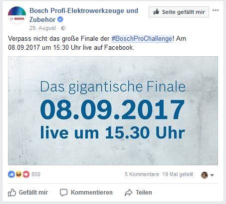 Das Finale der BoschProChallenge wurde live auf Facebook gestreamt