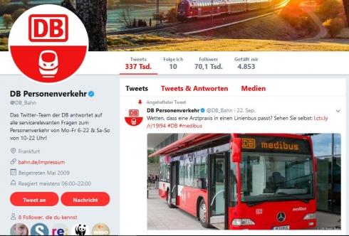 DB Personenverkehr auf Twitter