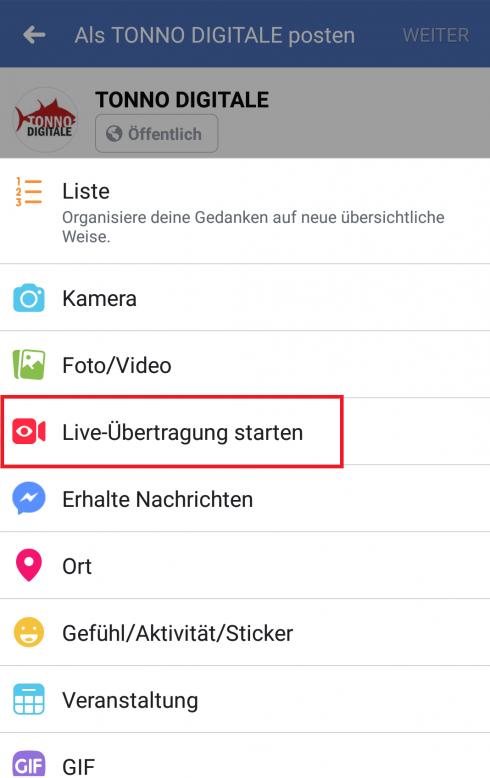 """Mit Klick auf """"Live-Übertragung starten"""