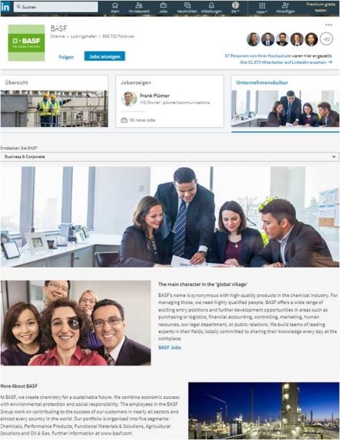 Das LinkedIn-Profil von BASF gibt Nutzern Einblicke in das Unternehmen