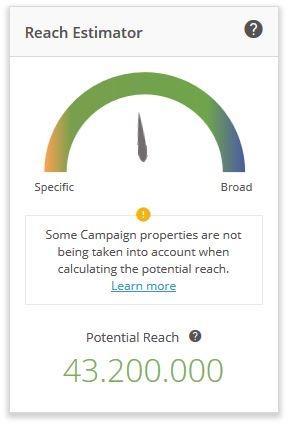 Eine erste Einschätzung der potenziellen Reichweite der Kampagne erhält der Nutzer bei Outbrain über den Reach Estimator