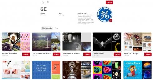 Neben eigenen Bildern pinnt General Electric auf Pinterest auch Beiträge anderer Nutzer