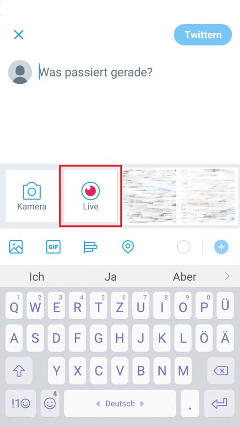"""Bei Twitter starten Sie die Übertragung mit Klick auf """"Live"""