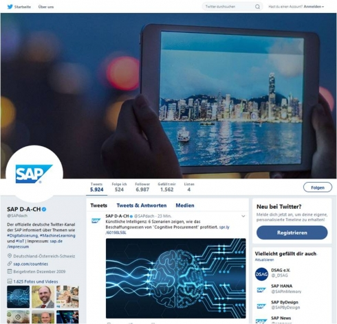 Über 1.600 Fotos und Videos umfasst der Twitter-Kanal von SAP
